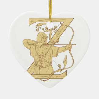 Medieval Archer Aiming Bow and Arrow Letter Z Draw Ceramic Heart Ornament