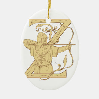 Medieval Archer Aiming Bow and Arrow Letter Z Draw Ceramic Oval Ornament