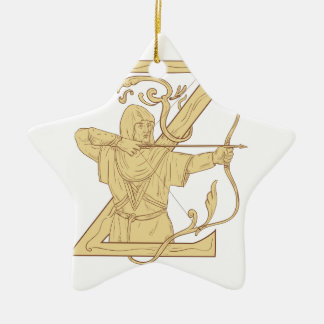 Medieval Archer Aiming Bow and Arrow Letter Z Draw Ceramic Star Ornament