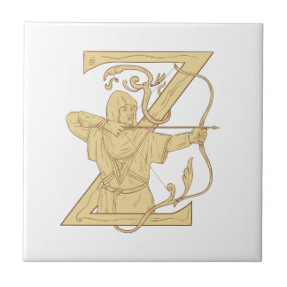 Medieval Archer Aiming Bow and Arrow Letter Z Draw Ceramic Tiles