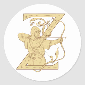 Medieval Archer Aiming Bow and Arrow Letter Z Draw Classic Round Sticker