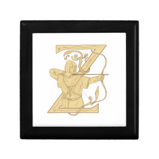 Medieval Archer Aiming Bow and Arrow Letter Z Draw Gift Box