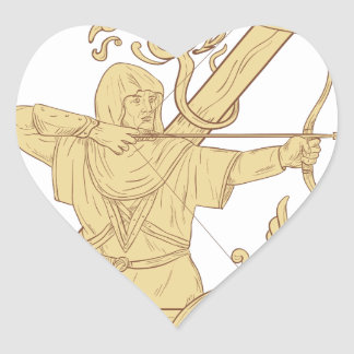 Medieval Archer Aiming Bow and Arrow Letter Z Draw Heart Sticker