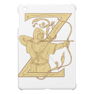 Medieval Archer Aiming Bow and Arrow Letter Z Draw iPad Mini Case