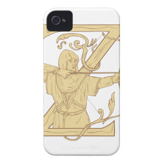 Medieval Archer Aiming Bow and Arrow Letter Z Draw iPhone 4 Cover