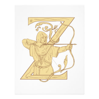 Medieval Archer Aiming Bow and Arrow Letter Z Draw Letterhead