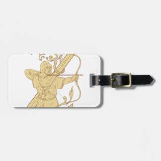 Medieval Archer Aiming Bow and Arrow Letter Z Draw Luggage Tag