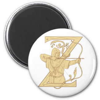 Medieval Archer Aiming Bow and Arrow Letter Z Draw Magnet