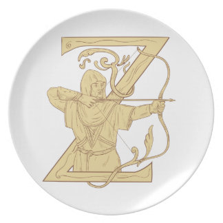 Medieval Archer Aiming Bow and Arrow Letter Z Draw Party Plate