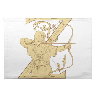 Medieval Archer Aiming Bow and Arrow Letter Z Draw Placemat