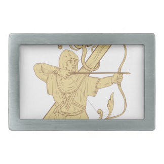 Medieval Archer Aiming Bow and Arrow Letter Z Draw Rectangular Belt Buckles