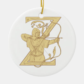 Medieval Archer Aiming Bow and Arrow Letter Z Draw Round Ceramic Ornament