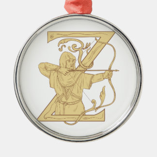 Medieval Archer Aiming Bow and Arrow Letter Z Draw Silver-Colored Round Ornament
