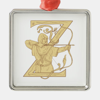 Medieval Archer Aiming Bow and Arrow Letter Z Draw Silver-Colored Square Ornament