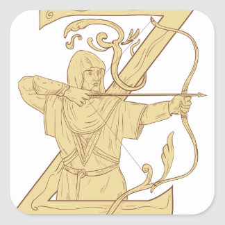 Medieval Archer Aiming Bow and Arrow Letter Z Draw Square Sticker