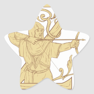 Medieval Archer Aiming Bow and Arrow Letter Z Draw Star Sticker
