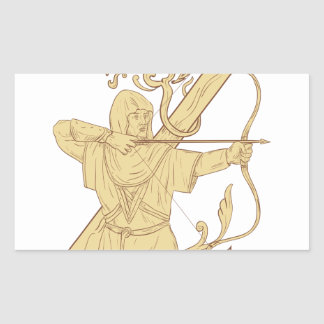 Medieval Archer Aiming Bow and Arrow Letter Z Draw Sticker