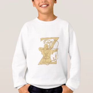 Medieval Archer Aiming Bow and Arrow Letter Z Draw Sweatshirt