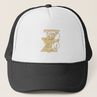 Medieval Archer Aiming Bow and Arrow Letter Z Draw Trucker Hat
