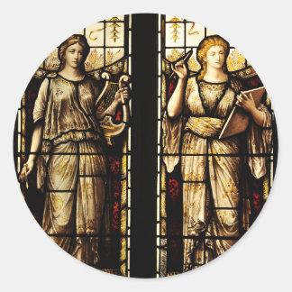 Medieval art round sticker