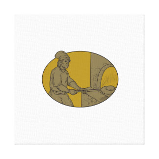 Medieval Baker Bread Peel Wood Oven Oval Drawing Canvas Print