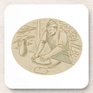 Medieval Baker Kneading Bread Dough Oval Drawing Coaster