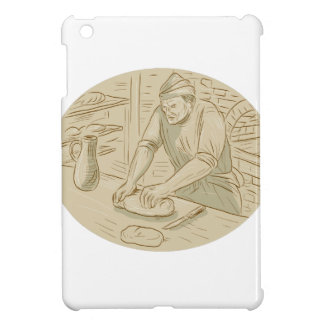 Medieval Baker Kneading Bread Dough Oval Drawing iPad Mini Cover