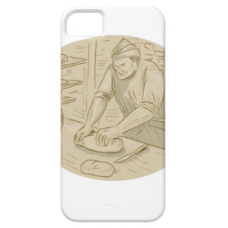 Medieval Baker Kneading Bread Dough Oval Drawing iPhone 5 Case
