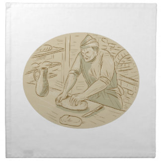 Medieval Baker Kneading Bread Dough Oval Drawing Napkin