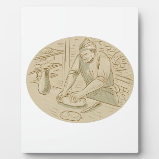 Medieval Baker Kneading Bread Dough Oval Drawing Plaque