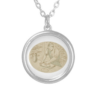 Medieval Baker Kneading Bread Dough Oval Drawing Silver Plated Necklace