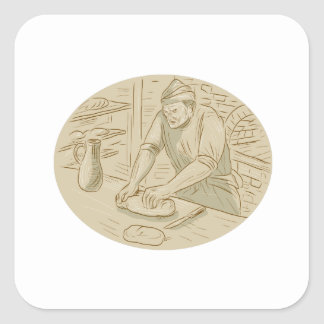 Medieval Baker Kneading Bread Dough Oval Drawing Square Sticker