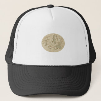 Medieval Baker Kneading Bread Dough Oval Drawing Trucker Hat