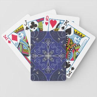 Medieval Baroque blue cobalt indigo dark pattern Bicycle Playing Cards
