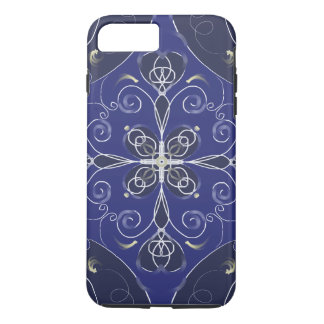 Medieval Baroque blue cobalt indigo dark pattern iPhone 8 Plus/7 Plus Case
