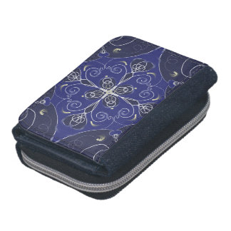 Medieval Baroque blue cobalt indigo dark pattern Wallet