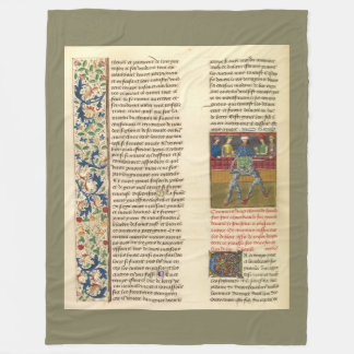 Medieval Battle Illuminated Manuscript Fleece Blanket