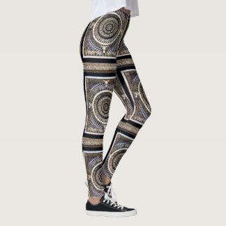 Medieval Black And White Marble Pattern Leggings