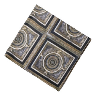 Medieval Black And White Sculpted Marble Pattern Bandanna