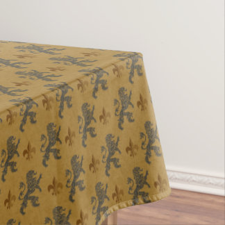 Medieval Black Lions With Fleurs de Lis Tablecloth