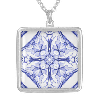 Medieval Blue Cross Silver Plated Necklace