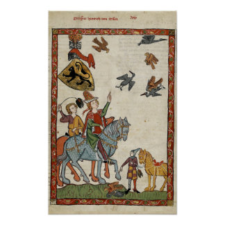 Medieval Boys on horseback with birds Poster Print