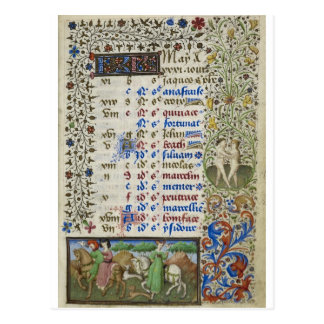 Medieval calendar: May Postcard