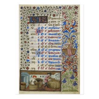 Medieval calendar: September Postcard