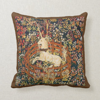 Medieval captive unicorn tapestry throw pillow