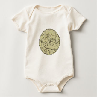 Medieval Carpenter Sawing Wood Circle Retro Baby Bodysuit