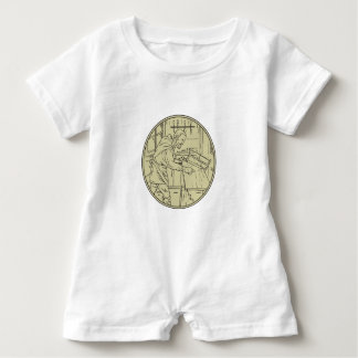 Medieval Carpenter Sawing Wood Circle Retro Baby Romper