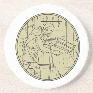 Medieval Carpenter Sawing Wood Circle Retro Drink Coasters