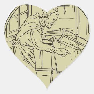 Medieval Carpenter Sawing Wood Circle Retro Heart Sticker