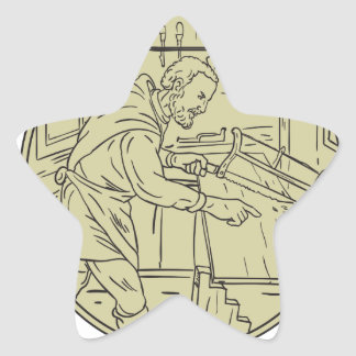 Medieval Carpenter Sawing Wood Circle Retro Star Sticker